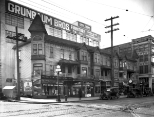 The row house at the southwest corner of 6th Avenue and Pine Street in its last months, ca. 1922-23. (Museum of History and Industry.) - Paul Dorpat